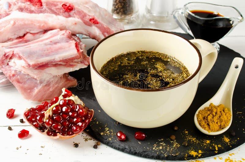 酱油和石榴汁串的卤汁  库存图片