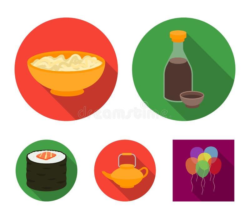 酱油,面条,水壶 卷 在平的样式的寿司集合汇集象导航标志储蓄例证网 库存例证