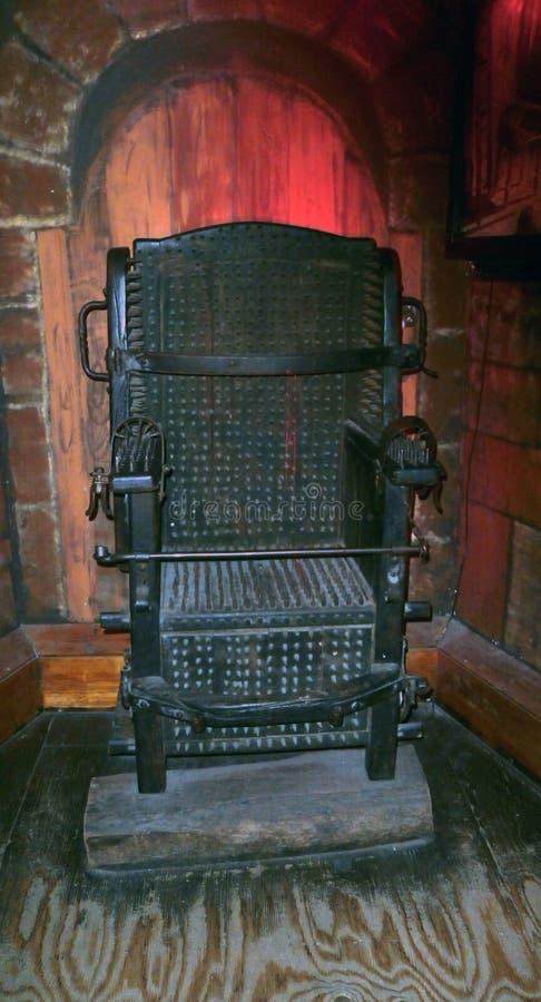 酷刑中世纪Judas铁椅子  库存图片