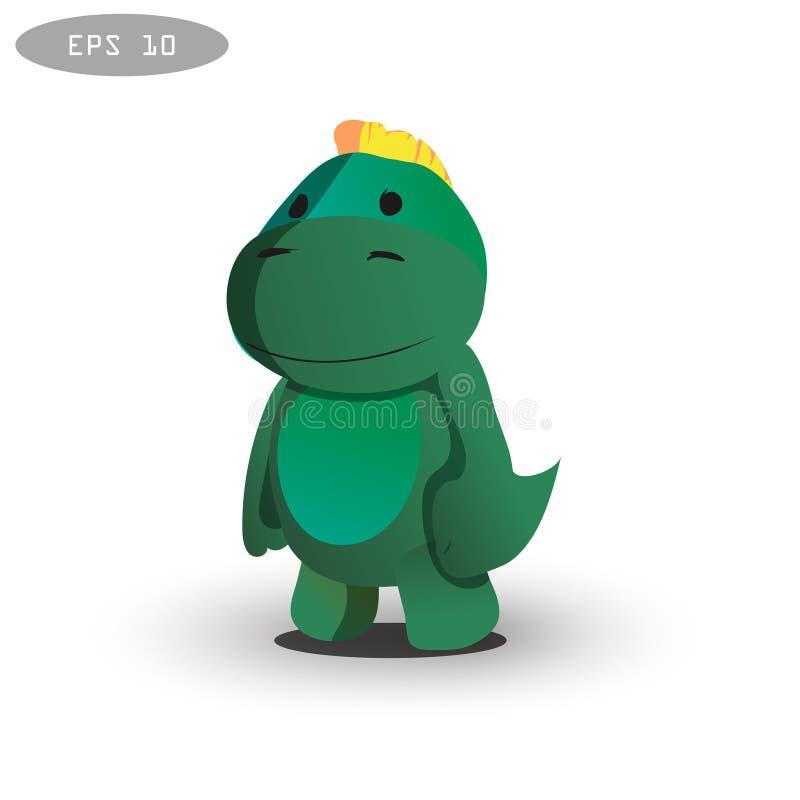 酷的恐龙字符设计 皇族释放例证