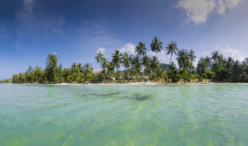 酸值苏梅岛海岛蓝色和绿色全景在泰国 库存照片