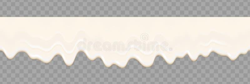 酸奶乳脂状的液体或奶油色融解飞溅流动的背景 传染媒介白色牛奶飞溅或冰淇淋流动软的无缝的纹理 向量例证