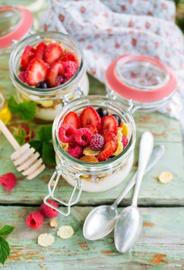 酸奶和muesli用莓果 免版税库存照片
