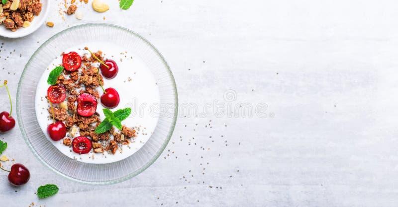 酸奶用樱桃、格兰诺拉麦片和Chia种子在明亮的背景 库存照片