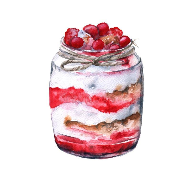 酸奶用莓果和燕麦粥 绝缘 水彩剪影 向量例证