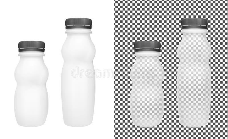 酸奶的透明空的塑料瓶 包装为酸性稀奶油、调味汁和快餐 皇族释放例证