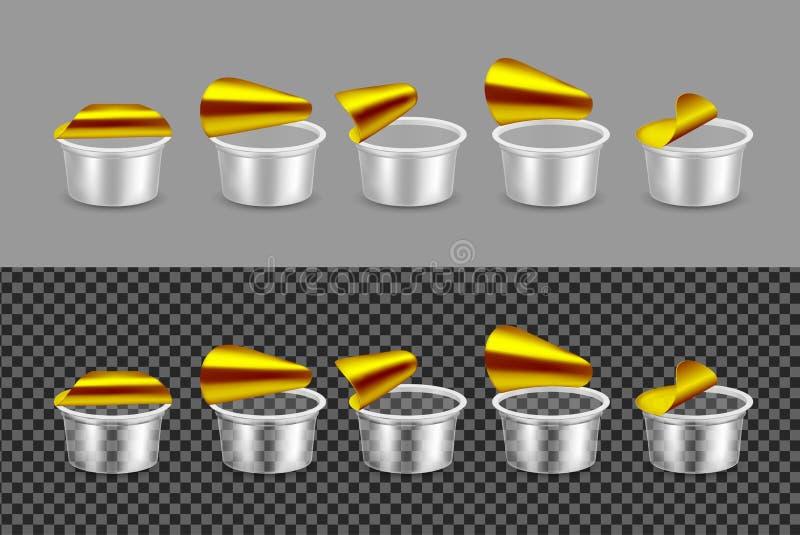 酸奶的透明空的塑胶容器 包装为酸性稀奶油的Open 向量例证