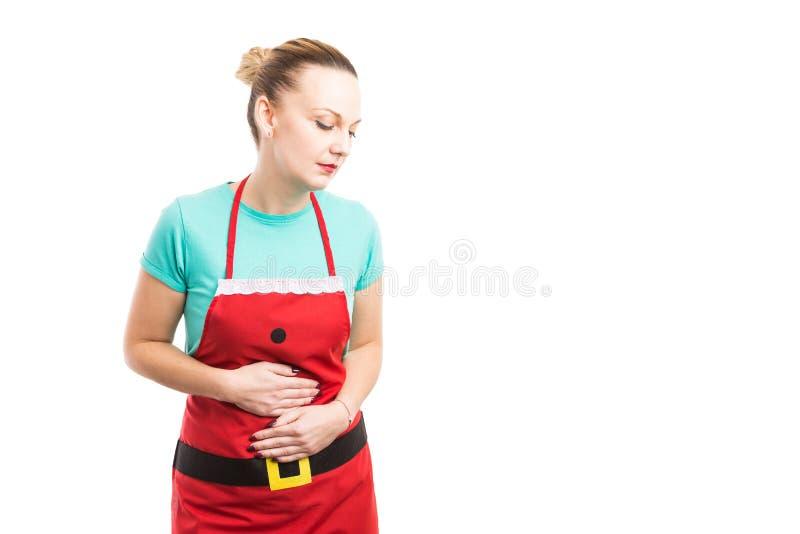 酸或消化不良在圣诞晚餐概念以后 库存照片