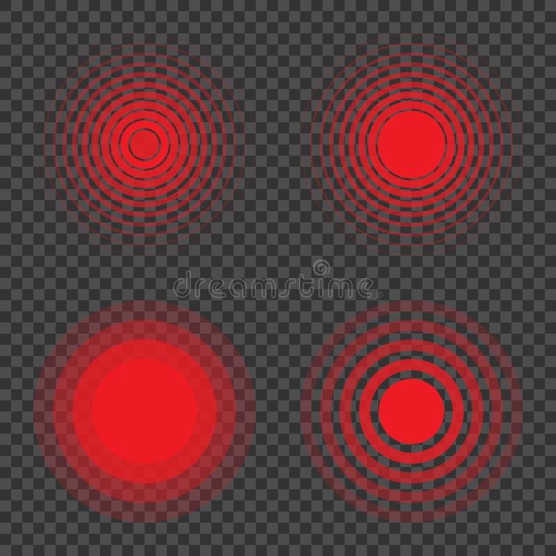 酸疼的地方 痛苦圈子 设置红色圆环,痛苦的标志 库存例证