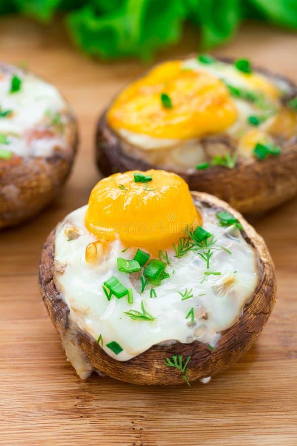 酿蘑菇用鸡蛋 库存图片