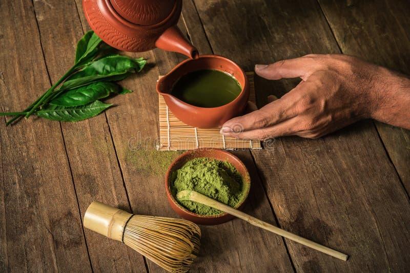 酿造绿茶粉末 库存照片