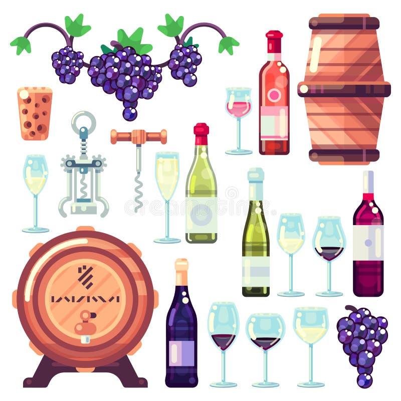 酿酒传染媒介象和设计元素 红色和白葡萄酒瓶,水杯,藤葡萄例证 库存例证