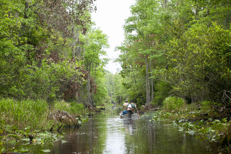醉汉、绿色、森林水路和渔船 免版税库存照片