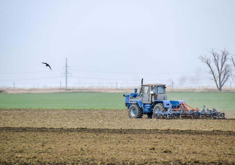 醉汉和在播种前松开在领域的土壤 拖拉机犁与犁的一个领域 库存图片