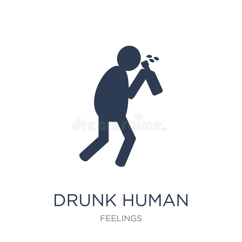 醉酒的人的象 时髦平的在白色b的传染媒介醉酒的人的象 库存例证