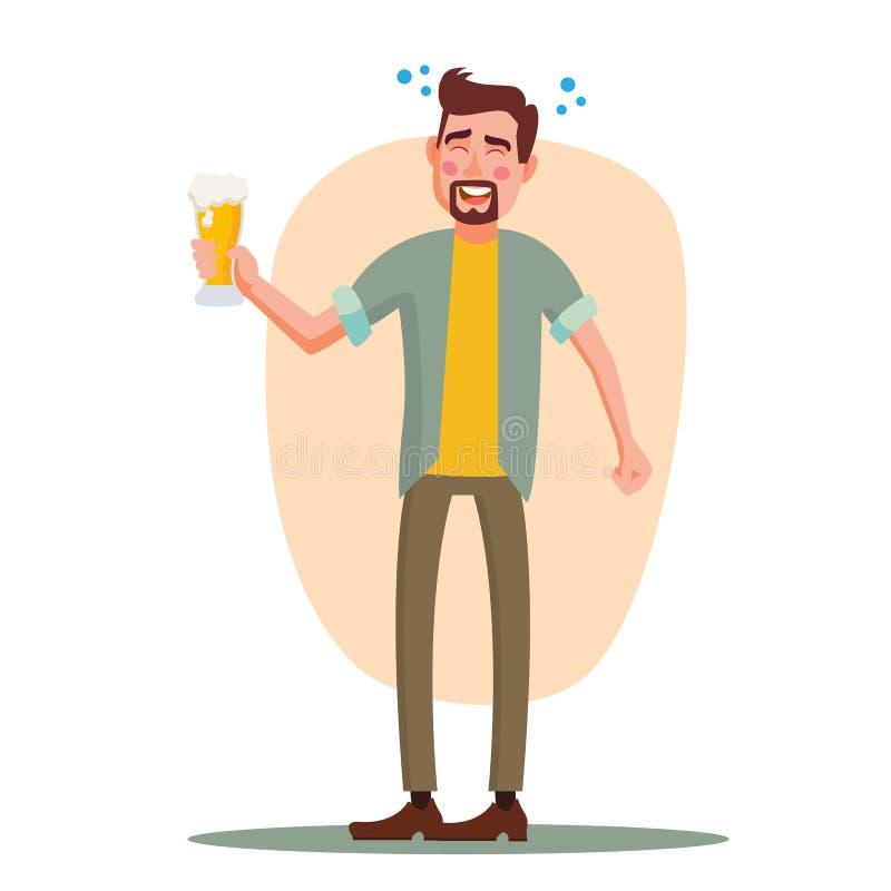 醉酒的办公室工作者传染媒介 获得乐趣 欢呼党概念 库存例证