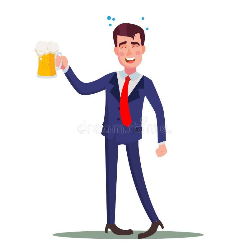 醉酒的商人传染媒介 放松的概念 库存例证