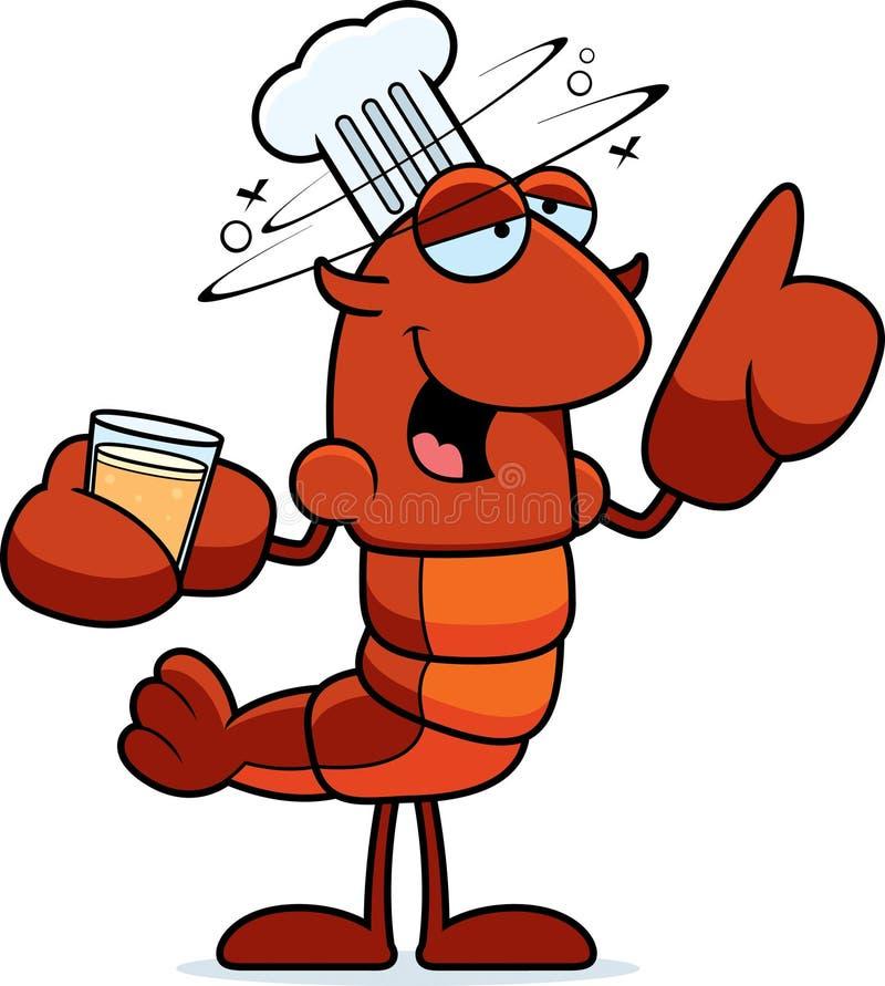 醉酒的小龙虾厨师 向量例证