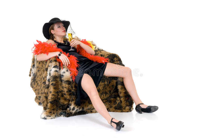 醉酒的glamor夫人 库存照片