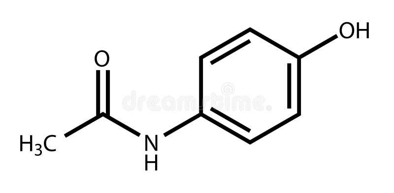 醋胺酚结构上配方的扑热息痛 向量例证