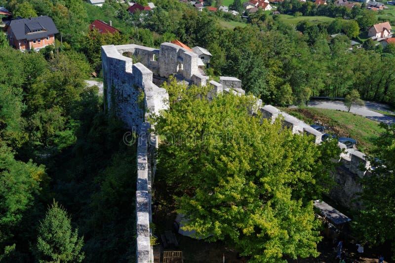 采列中世纪城堡的本营在斯洛文尼亚 免版税库存照片