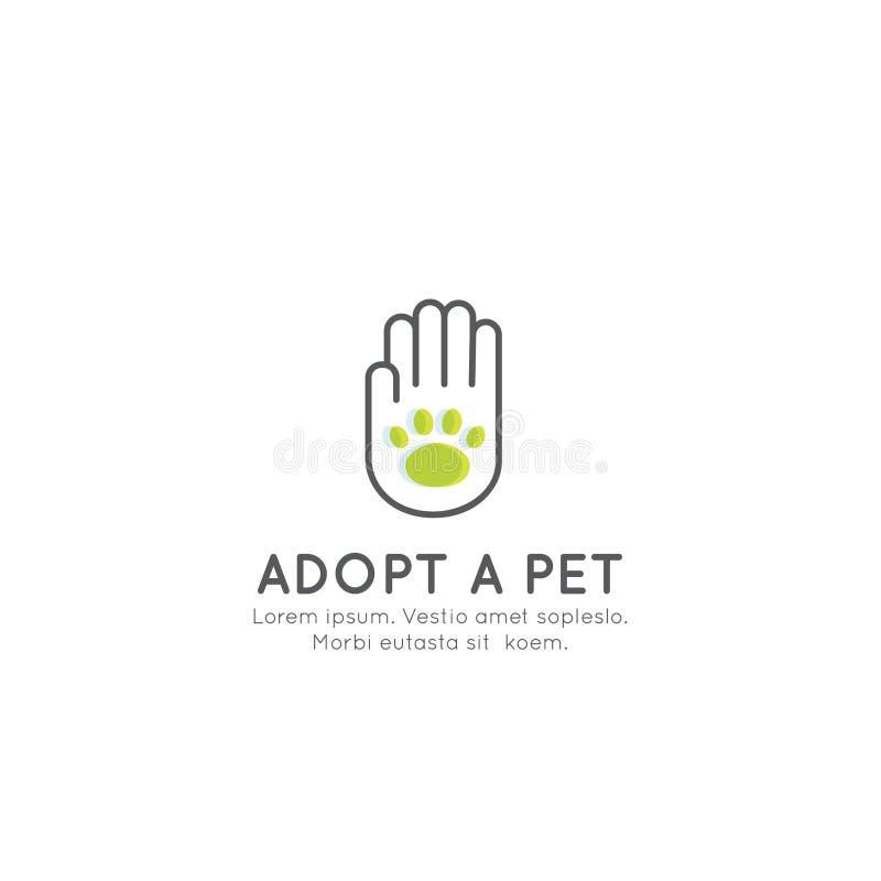 采取一个宠物横幅、新所有者、家畜农场、旅馆、被隔绝的Minimalistic对象用人的手和动物爪子 库存例证