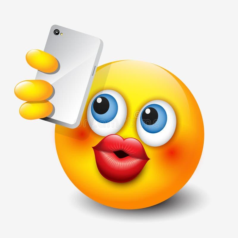 采取与他的智能手机的逗人喜爱的意思号selfie, emoji,面带笑容-导航例证 库存例证