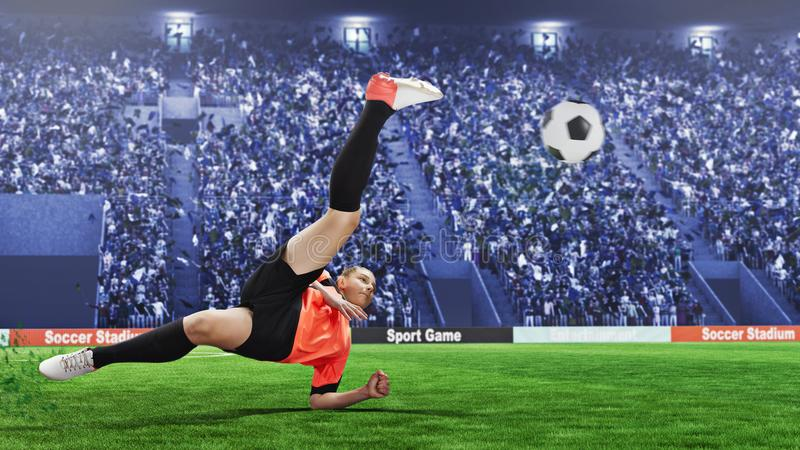 采取在一个拥挤体育场的女性足球运动员倒钩球 库存图片