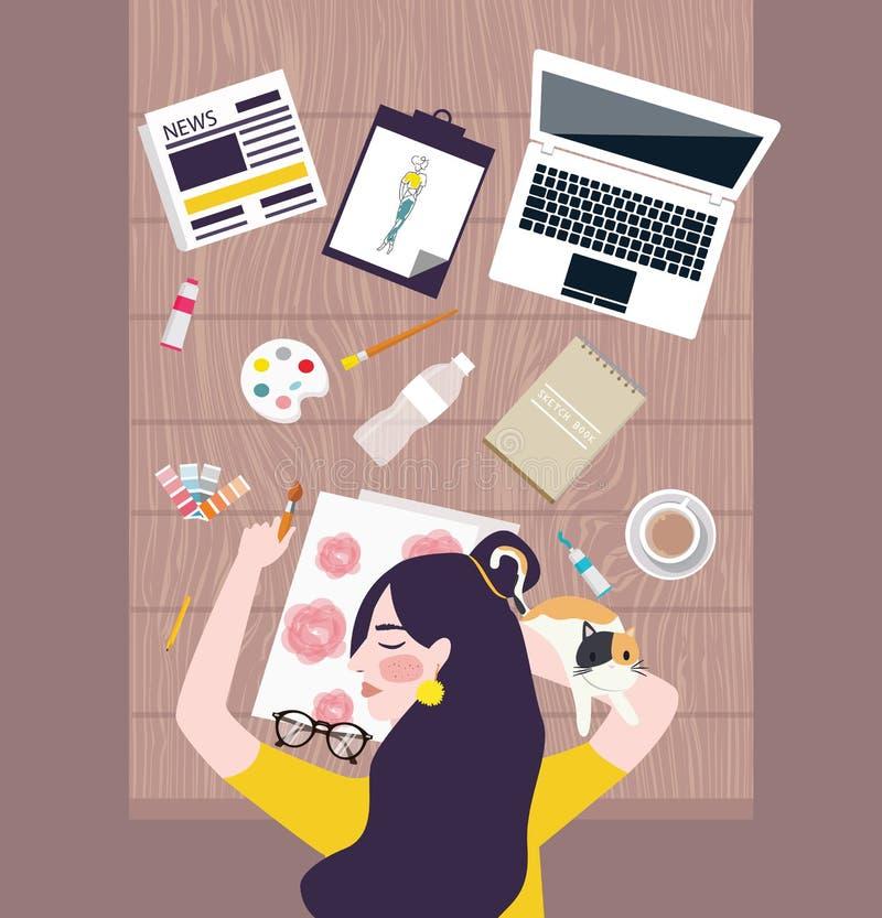 采取在工作表上的繁忙的妇女设计师艺术家休息与水彩膝上型计算机和充塞所有  向量例证