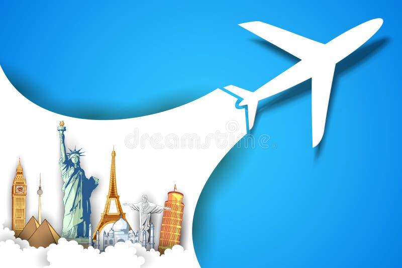 采取在旅行背景中的飞机 向量例证