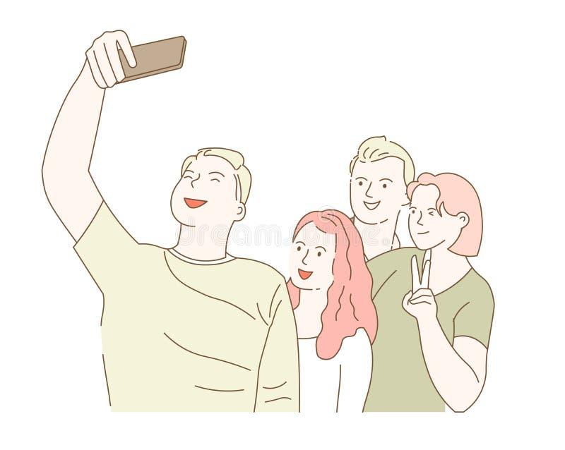 采取在智能手机照片同学会集的朋友selfie 向量例证