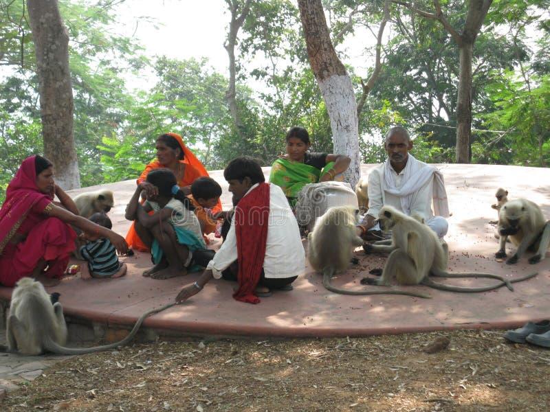 采取在树下的村民休息 免版税库存照片