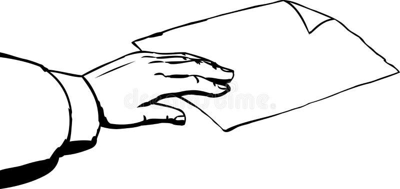采取在白色背景的手概述纸 库存例证