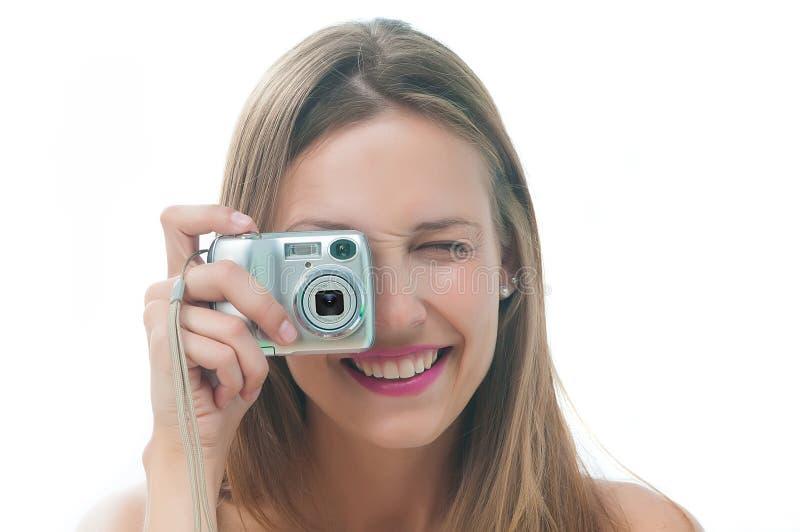采取妇女的美丽的照片 免版税库存图片