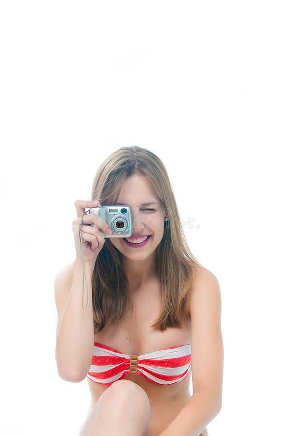 采取妇女的美丽的照片 免版税图库摄影