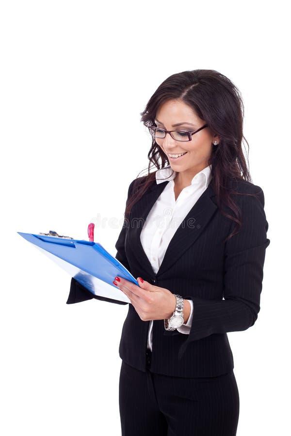 采取年轻人的企业家女性附注 库存图片