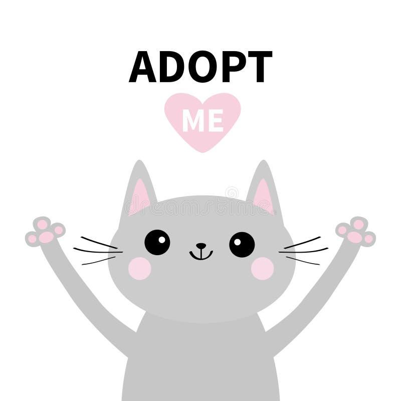 采取我 不要买 灰色猫剪影 手拥抱 桃红色重点 宠物收养 Kawaii动物 逗人喜爱的动画片全部赌注字符 滑稽的ba 向量例证