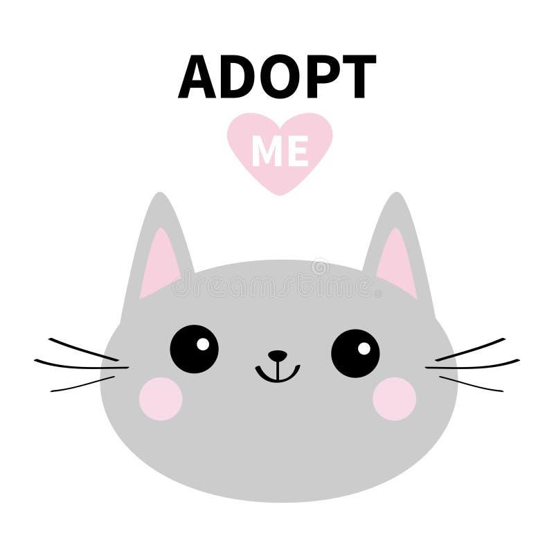 采取我 不要买 灰色猫圆的顶头剪影 桃红色重点 宠物收养 Kawaii动物 逗人喜爱的动画片全部赌注字符 滑稽的b 皇族释放例证