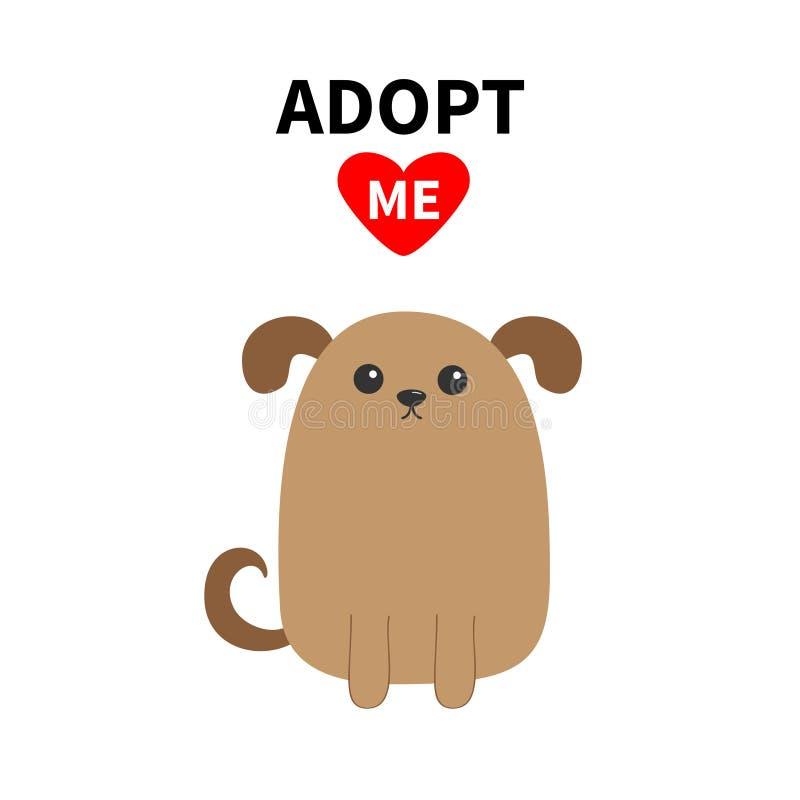 采取我 不要买 狗面孔 宠物收养 小狗狗 红色重点 平的设计样式 帮助无家可归的动物概念 逗人喜爱的动画片 库存例证