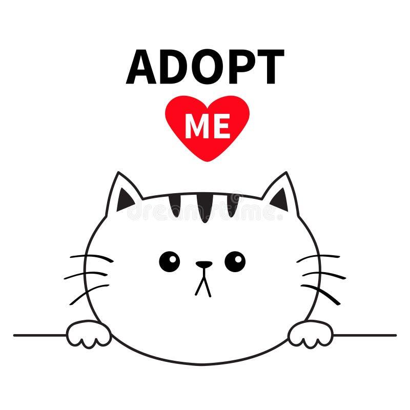 采取我 不要买 猫顶头面孔头 递拿着线的爪子 宠物收养 帮助无家可归的动物逗人喜爱的动画片全部赌注字符 f 皇族释放例证