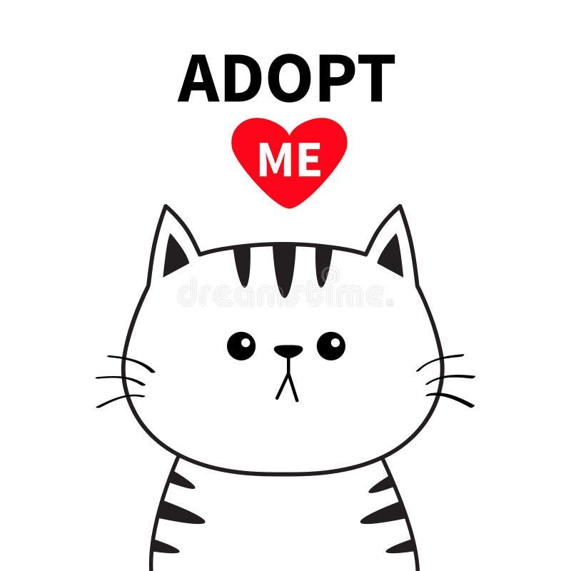 采取我 不要买 等高猫面孔剪影 红色重点 宠物收养 逗人喜爱的动画片全部赌注字符 滑稽的小小猫 帮助ho 皇族释放例证