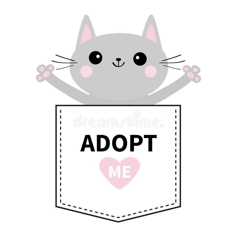 采取我 在口袋的灰色猫拥抱 桃红色重点 逗人喜爱动物的动画片 小猫全部赌注字符 破折号线 宠物汇集 向量例证