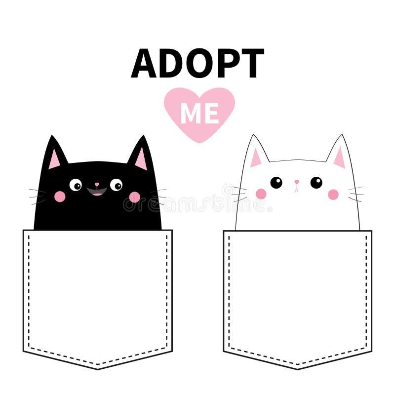 采取我 在口袋设置的黑白色猫 逗人喜爱动物的动画片 小猫全部赌注字符 破折号线 宠物汇集 T石牌 向量例证