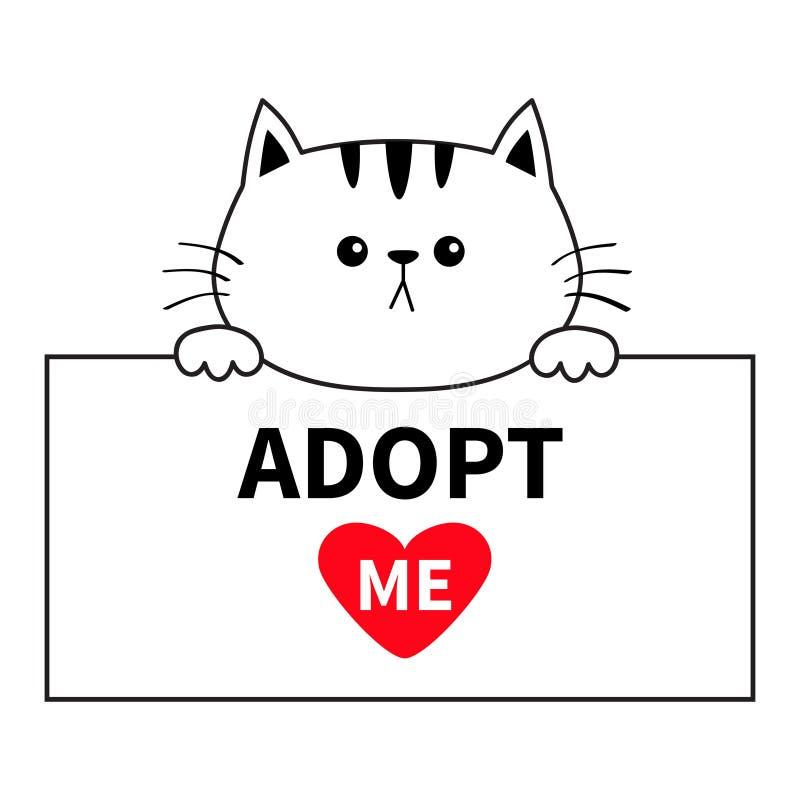 采取我 垂悬在纸板模板的猫顶头面孔 递爪子 宠物收养 帮助无家可归的动物逗人喜爱的动画片全部赌注characte 皇族释放例证