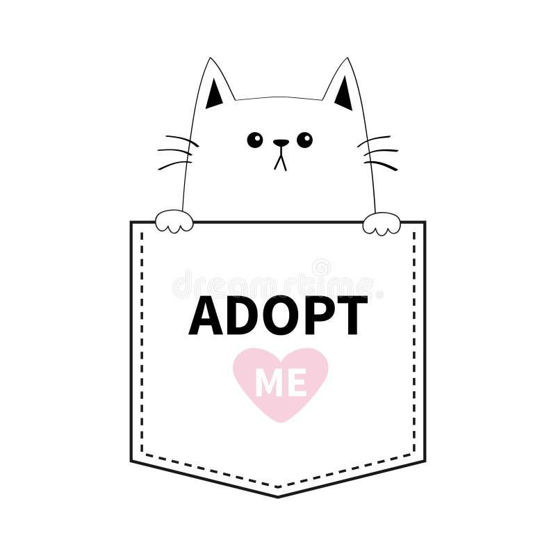 采取我 逗人喜爱的猫递口袋 桃红色重点 动物动画片被画的现有量查出的向量白色 小猫全部赌注字符 破折号线 宠物汇集 T恤杉de 向量例证