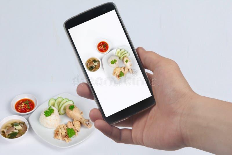 采取照片放出的油腻的鸡米盘对份额 库存图片