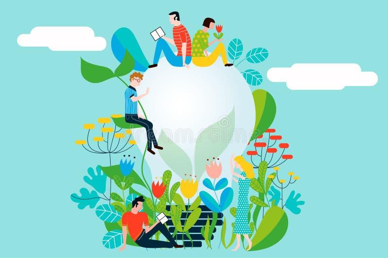 采取环境的关心和地球的愉快的人民爱庭院和自然 向量例证