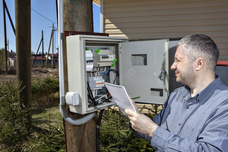 采取电表的读书农村技术员在国家 免版税库存图片