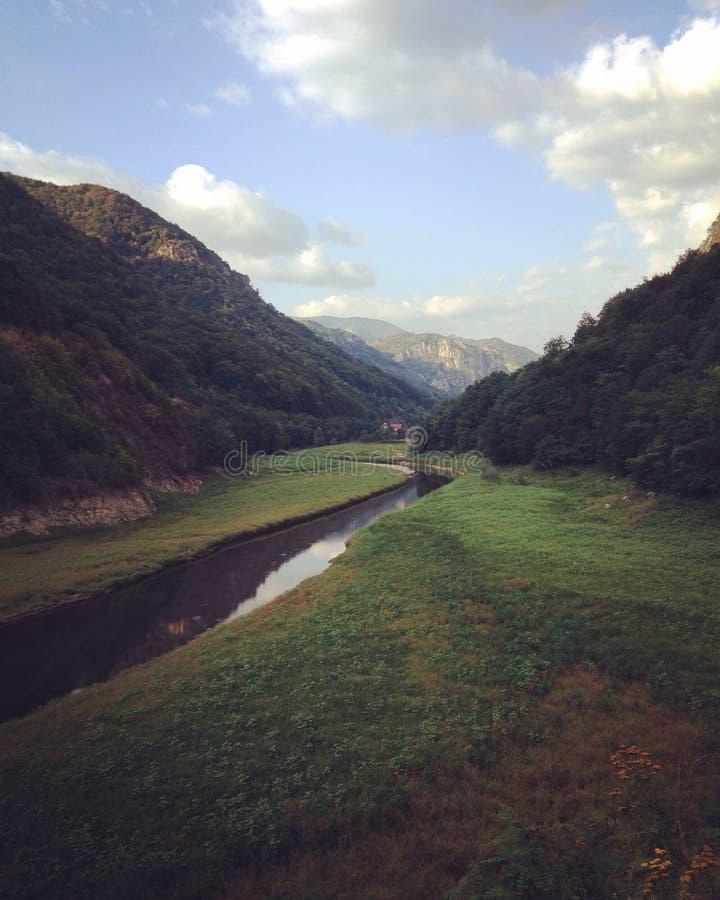 采取看法自然发辫的呼吸覆盖天空草河 免版税库存图片