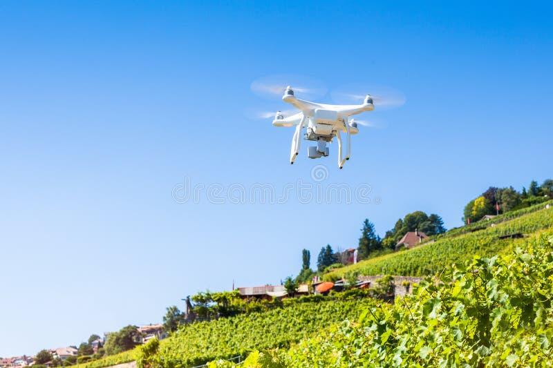 采取航拍和录影的Quadrocopter寄生虫 免版税库存照片